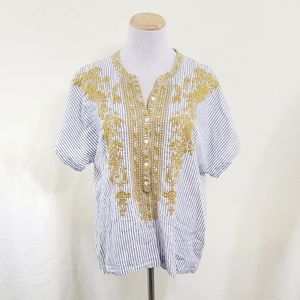 Johnny Was striped linen tunic floral embroidery S